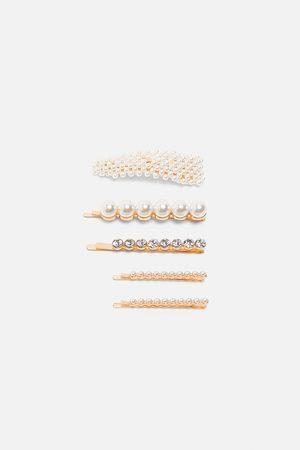 Zara Pakke med hårspænder med perler og rhinsten