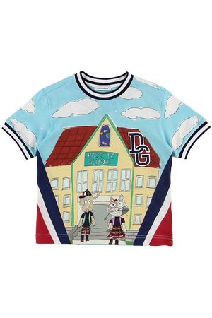 Dolce & Gabbana T-shirt - Back To School - Lyseblå m. Skole