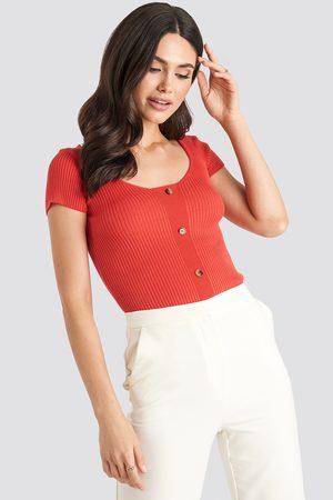 NA-KD Kvinder Kortærmede - Ribbed Knitted Short Sleeve Top