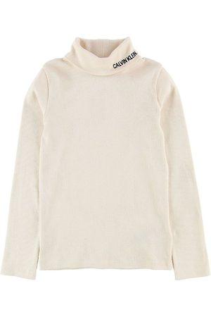 Calvin Klein Højhalset - Bluse m. Rullekrave - Rib Mock - Creme