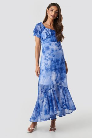 NA-KD Tie Dye Puff Sleeve Maxi Dress