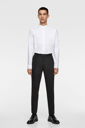 Zara Skjorte i stretch stof med kinakrave