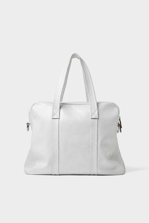 Zara Weekendtaske i hvidt skind