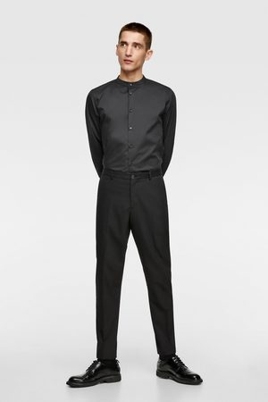 Zara Mænd Langærmede - Skjorte i stretch stof med kinakrave