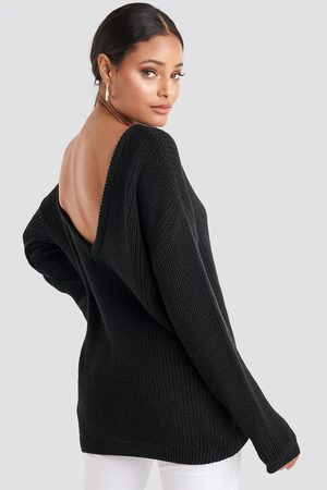 NA-KD Kvinder Strik - Knitted Deep V-neck Sweater