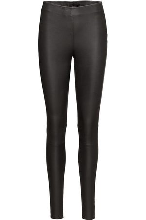 Selected Kvinder Leggings & Treggings - Slfsylvia Mw Stretch Leather Leggin Noos Leather Leggings/Bukser