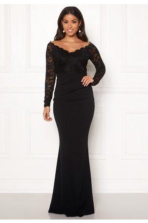 Goddiva Kvinder Maxikjoler - Lace Trim Maxi Dress Black