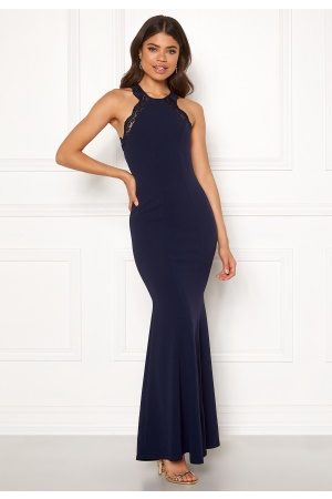 Goddiva Lace Fishtail Maxi Dress Navy XS (UK8)