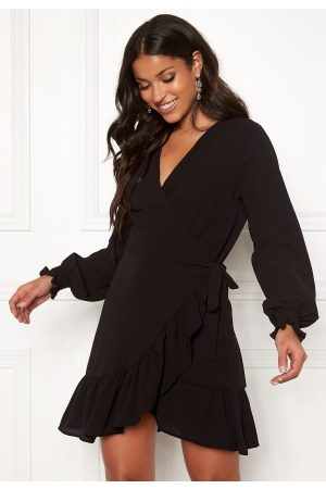 John Zack Kvinder Casual kjoler - Frilly Wrap Mini Dress Black