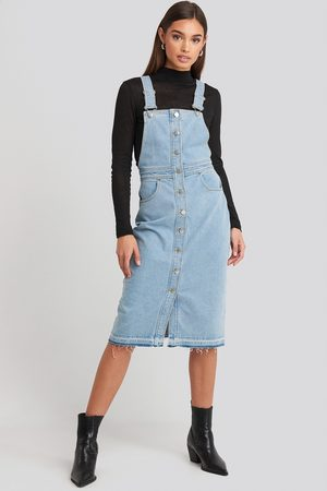 NA-KD Open Hem Denim Midi Dress