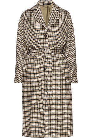 Morris Lady Kvinder Trenchcoats - Maebel Checked Coat Trenchcoat Frakke Brun