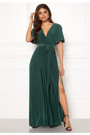 Goddiva Flutter Sleeve Maxi Dress Botanical Green XS (UK8)
