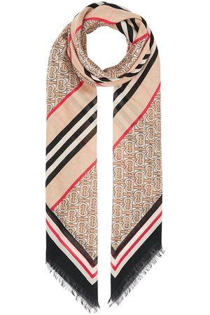 Burberry Stor firkantet tørklæde med ikon-stribe og monogramtryk