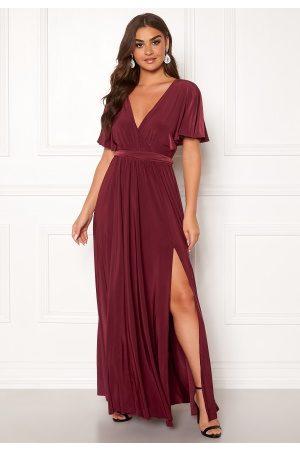 Goddiva Flutter Sleeve Maxi Dress Berry XS (UK8)