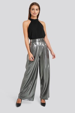NA-KD Kvinder Kassebukser - High Waist Front Pleat Wide Leg Pants
