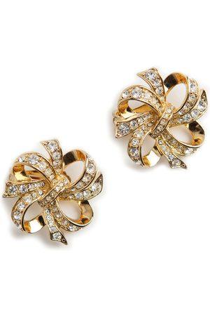 Kenneth Jay Lane Crystal ribbon clip on earrings