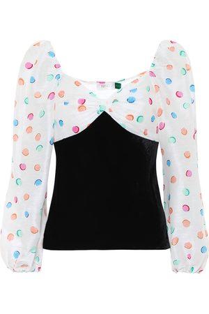 RIXO London Hannah polka-dot velvet blouse