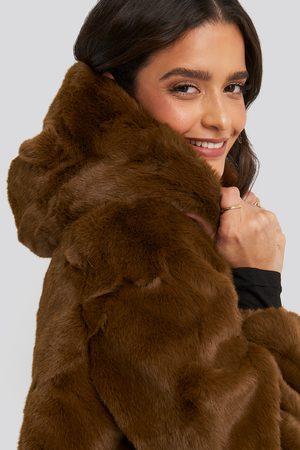 NA-KD Hooded Faux Fur Jacket