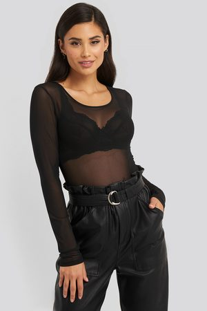 NA-KD Deep Round Neck Mesh Top