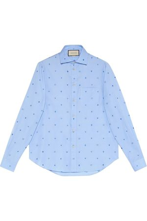 Gucci Mænd Langærmede - Camicia in cotone fil coupé con simboli