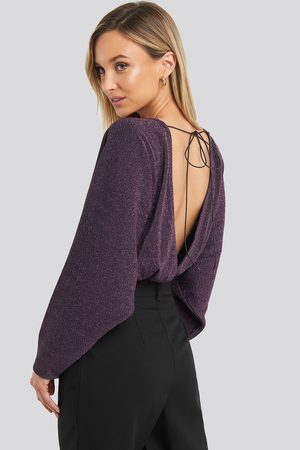 NA-KD Open Back Plunge Neck Lurex Bodysuit
