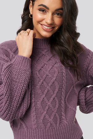 NA-KD Kvinder Strik - Cable Knitted Balloon Sleeve Sweater