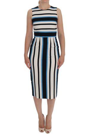 Dolce & Gabbana Striped Silk Stretch Sheath Dress