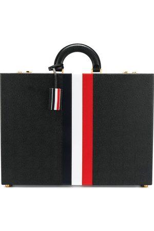 """Thom Browne """"Attache mappe i nopret læder med rød, hvid og blå stribe"""""""