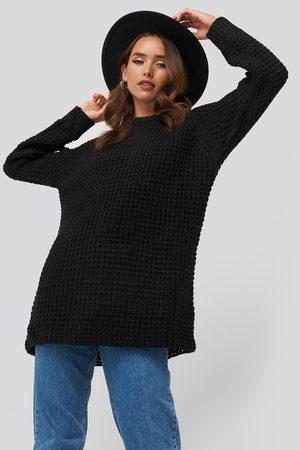 NA-KD Kvinder Strik - Round Neck Pineapple Knitted Sweater