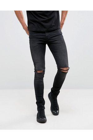 ASOS Sortvaskede superskinny 12.5oz jeans med flænger på knæene fra