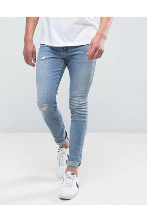 ASOS Superskinny medium-forvaskede jeans med slidmærker fra