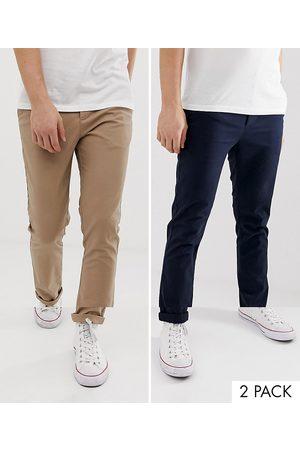 ASOS Mørkeblå og beige skinny lærredsbukser, pakke med 2, fra -Multifarvet