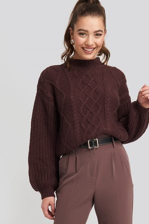 NA-KD Cable Knitted Balloon Sleeve Sweater