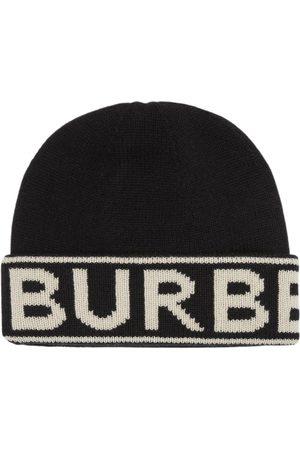 Burberry Intarsia hue i kashmir med logo