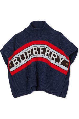 Burberry Piger Strik - Kortærmet kabelstrikket trøje med logo