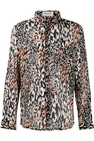 Saint Laurent Skjorte med lange ærmer og leopardtryk