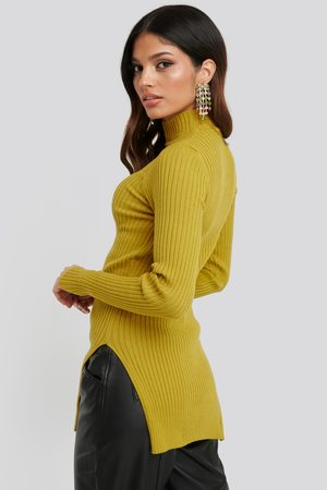 NA-KD Kvinder Strik - Side Split Ribbed Sweater