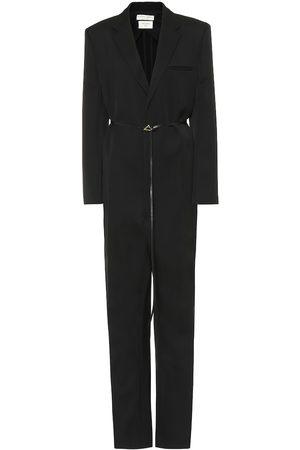 Bottega Veneta Leather-trimmed wool jumpsuit
