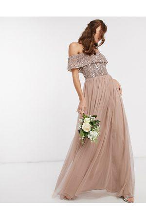 Maya Muldvarpe-pink Bardot-maxikjole i tyl med pailletter fra Bridesmaid-Brun