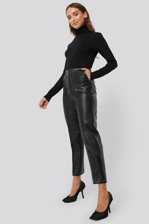NA-KD Kvinder Skindbukser - Faux Leather Front Seam Pants