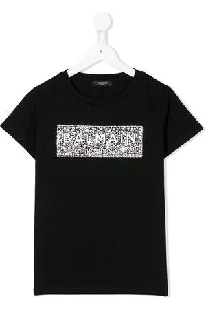 Balmain Crystal-embellished logo T-shirt