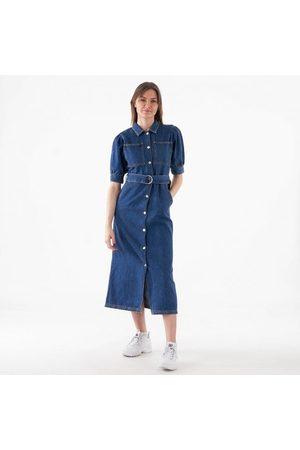 NA-KD Puff sleeve belted denim dress