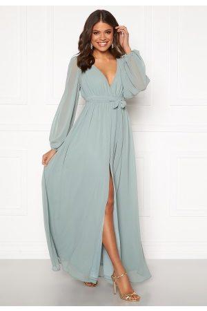 Goddiva Kvinder Maxikjoler - Long Sleeve Chiffon Dress Sage Green M (UK12)