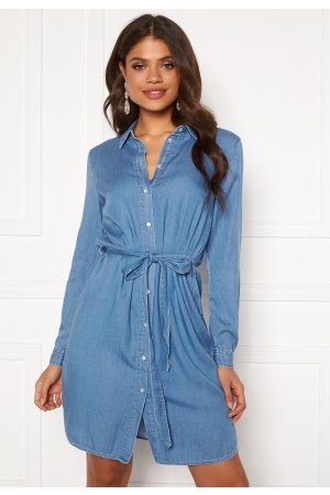 Vila Kvinder Sommerkjoler - Bista Denim Belt Dress Medium Blue Denim 44