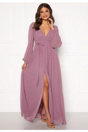 Goddiva Kvinder Maxikjoler - Long Sleeve Chiffon Dress Dusty Lavendel XL (UK16)
