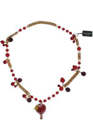 Dolce & Gabbana Gold Red Apple Fruit Crystal Charms Necklace