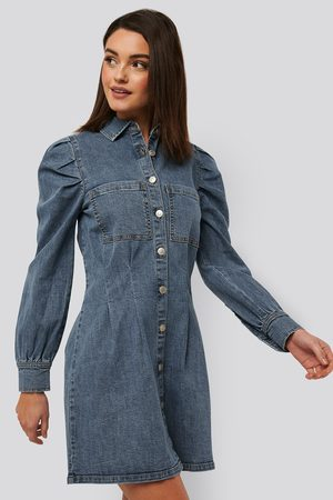 NA-KD Balloon Sleeve Mini Denim Dress