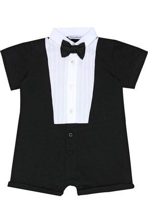 Dolce & Gabbana Baby tuxedo cotton-blend playsuit