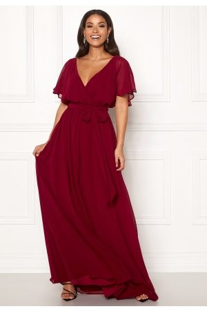 Goddiva Kvinder Maxikjoler - Flutter Chiffon Dress Berry S (UK10)