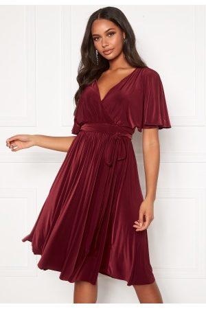 Goddiva Kvinder Midikjoler - Flutter Sleeve Midi Dress Berry L (UK14)